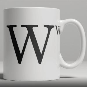 Alphabet Ceramic Mug - Letter W