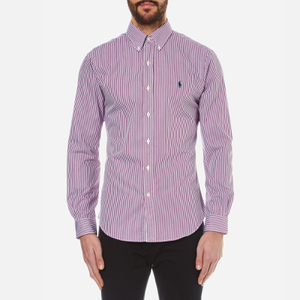 Polo Ralph Lauren Men's Long Sleeved Striped Shirt - Red Wine
