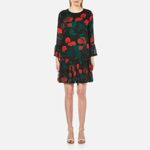 Ganni Women's Newman Georgette Short Dress - Black