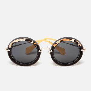 Miu Miu Women's Round Oversized Sunglasses - Transparent Grey