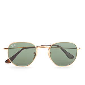 Ray-Ban Hexagonal Metal Frame Sunglasses - Gold/Green