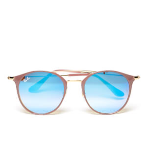 Ray-Ban Round Metal Rose Frame Sunglasses - Gold Top Beige/Blue Flash
