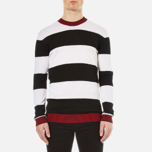 McQ Alexander McQueen Men's Stripe Contrast Crew Neck Jumper - Darkest Black/White