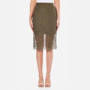 Diane von Furstenberg Women's Glimmer Lace Midi Skirt - Olive