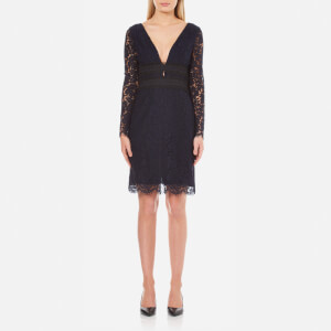 Diane von Furstenberg Women's Viera Lace Long Sleeve Dress - Deep Night/Black