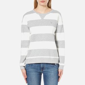 GANT Women's O2 Barstripe C-Neck Sweatshirt - Light Grey Melange