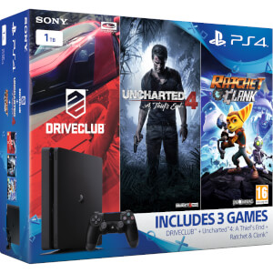 PLAYSTATION 4 Slim with Uncharted 4: A Thief's End, DRIVECLUB & Ratchet & Clank - 1 TB