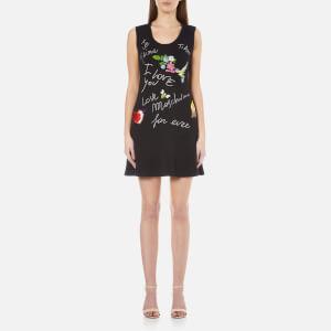 Love Moschino Women's Birds and Flowers Logo Flared Dress - Black