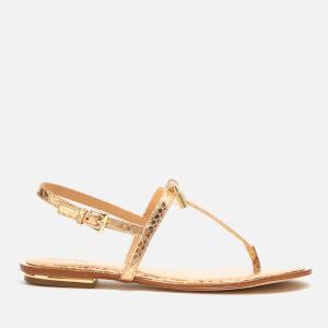 MICHAEL MICHAEL KORS Women's Suki Leather Flat Sandals - Pale Gold