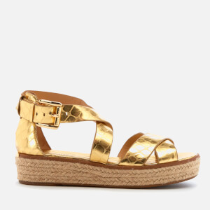 MICHAEL MICHAEL KORS Women's Darby Leather Flatform Sandals - Pale Gold