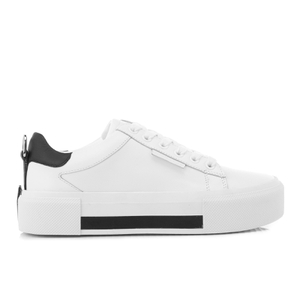 Kendall + Kylie Women's Tyler Leather Flatform Trainers - White/Black