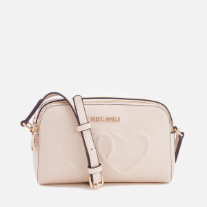 Love Moschino Women's Love Heart Embossed Mini Cross Body Bag - Beige