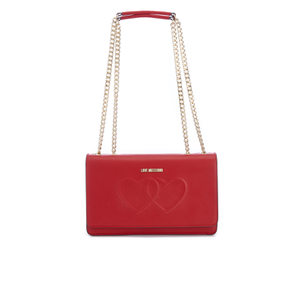 Love Moschino Women's Love Heart Embossed Cross Body Bag - Red