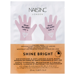 FACEINC by nails inc. Shine Bright Moisturizing and Anti-Ageing Glove Masks - Deeply Hydrating, Brightening and Firming