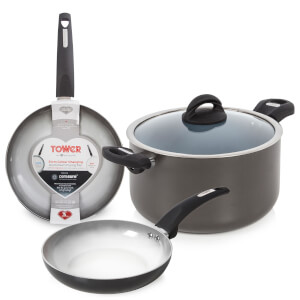 Tower Ceramic Casserole Pan and 20/24cm Frying Pans - Graphite