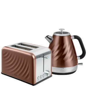 Swan Twist Jug Kettle 1.6L and 2 Slice Toaster - Copper