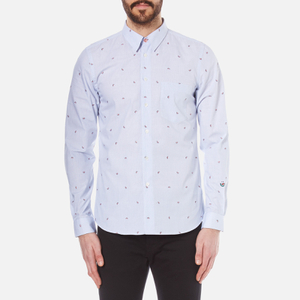 PS by Paul Smith Men's Long Sleeve Tailored Fit Chambray Shirt - Blue