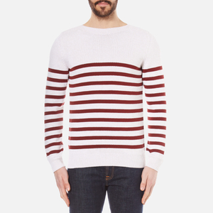 A.P.C. Men's Pull Lord Stripe Knitted Jumper - Blanc Casse
