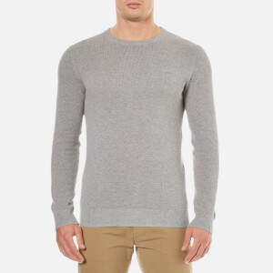 GANT Men's Cotton Pique Crew Neck Sweatshirt - Grey Melange