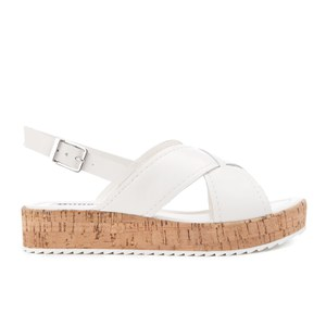 Dune Women's Kriss Leather Flatform Sandals - White