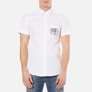 KENZO Men's Poplin Short Sleeve Shirt - White