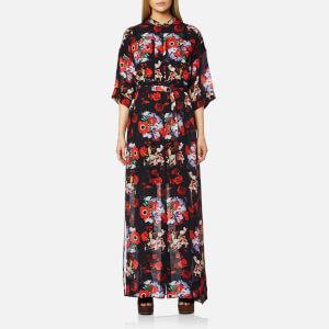 KENZO Women's Antonio Flower Silk Maxi Dress - Vermillion