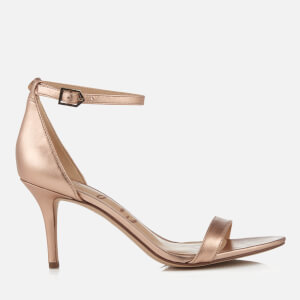 Sam Edelman Women's Patti Leather Mid Heeled Barely There Sandals - Platinum Pink Metallic