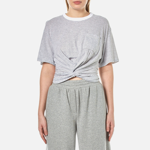 T by Alexander Wang Women's Stripe Cotton Jersey Front Twist Short Sleeve T-Shirt - Heather Grey/White