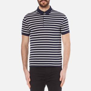 Lacoste Men's Striped Mini Pique Polo Shirt - Navy Blue/Flour