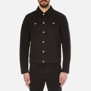 MSGM Men's Denim Jacket with Reverse Logo - Black
