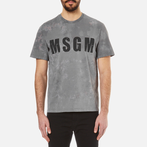 MSGM Men's Patterned Chest Logo T-Shirt - Grey