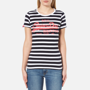 Superdry Women's Vintage Logo Stripe T-Shirt - Navy Stripe
