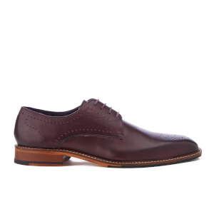 Ted Baker Men's Marar Leather Punched Detail Derby Shoes - Dark Red
