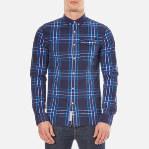 Superdry Men's Washbasket Long Sleeve Button Down Shirt - Tylers Check Navy
