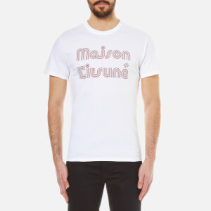 Maison Kitsuné Men's Striped Mk T-Shirt - White