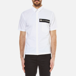 Versus Versace Men's Zip Pocket Detail Short Sleeve Shirt - Optical White