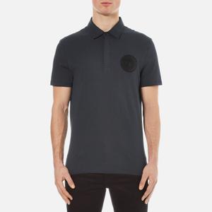 Versace Collection Men's Round Logo Polo Shirt - Blu Notte