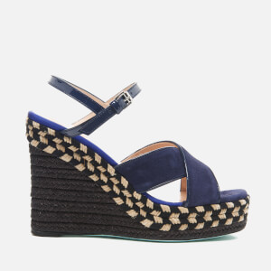 PS by Paul Smith Women's Tatum Raffia Wedged Sandals - Navy Kid
