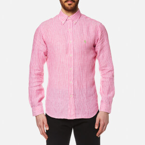 Polo Ralph Lauren Men's Stripe Slim Fit Long Sleeve Linen Shirt - Pink