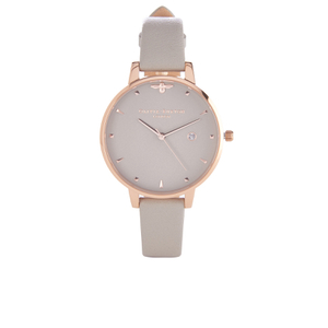 Olivia Burton Women's Mini Moulded Bee Grey Watch - Rose Gold