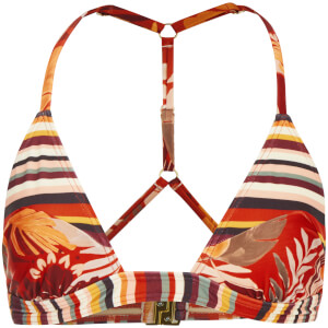 MINKPINK Women's Monsoon Leaves Splice Triangle Bikini Top - Red