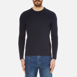 Folk Men's Waffle Crew Neck Knitted Jumper - Navy