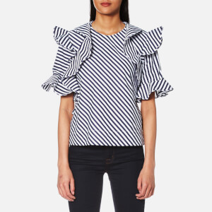 MSGM Women's Frill Detail Striped Top - Multi