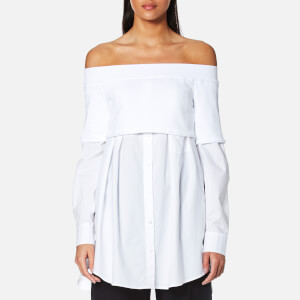 DKNY Women's Extra Long Sleeve Off the Shoulder Button Down Shirt with Knitted Top - White