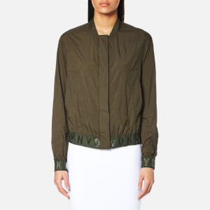 DKNY Women's Long Sleeve Bomber Jacket with Elastic Logo Trims - Military