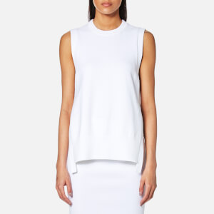 DKNY Women's Sleeveless Crew Neck Mixed Media Top with Side Slits - White