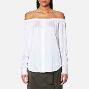 DKNY Women's Long Sleeve Off the Shoulder Button Through Shirt - White