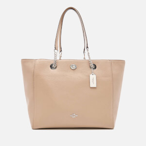 Coach Women's Turnlock Chain Tote Bag - Stone