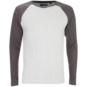 Brave Soul Men's Osbourne Raglan Long Sleeve Top - Ecru Marl
