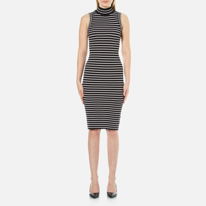 MICHAEL MICHAEL KORS Women's Striped Ribbed Midi Dress - Black